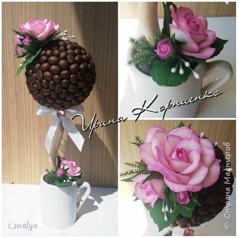 Кофейный топиарий с розами из фоамирана  фото 1