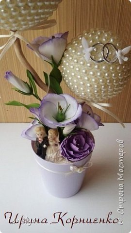 Свадебный топиарий из бусин фото 5