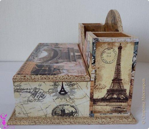 """И снова здравствуйте! Ранее  я выкладывала такую же подставку только в стиле """"Лондон"""", как и обещалась выкладываю подставку для канцелярских принадлежностей """"Париж""""... Только подставка для бумаг немного другая... фото 4"""