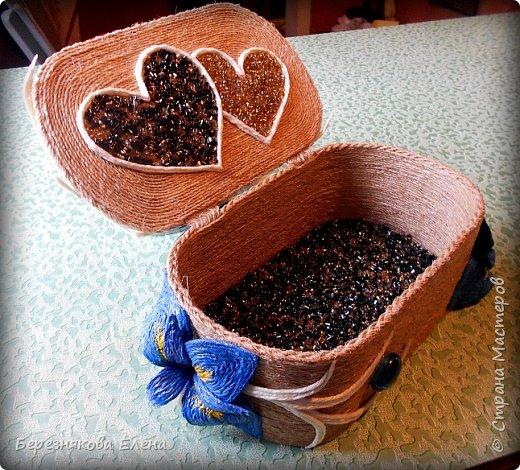 Приветствую всех-всех-всех)))Очередная шкатулочка с цветочками))))И,да-да-да,из шпагата))) фото 2