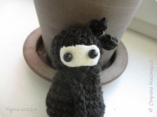 БУ!! Привет всем, сегодня я хочу показать вам моего вязаного ниндзю:) лицо у него из белого флиса, глаза из бусин, а собран он вместе при помощи клея, иглы и ниток. фото 6