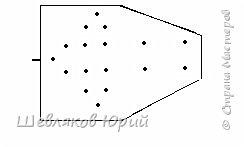 Для этого необходимо взять дощечку (фанера), на листе в клеточку нанести карандашом точки по краям клеточкам, согласно приведенной схеме, закрепить на дощечке лист с чертежом. между гвоздиками 1 клеточка. Взять 18 гвоздиков (толщиной 1 мм, длиной 20мм), обрезать шляпки, зачистить заусенцы и забить по точкам схемы. Снять выкройку. Высота гвоздиков, над поверхностью дощечки должна быть не более 5 мм. Приспособление готово.  фото 1