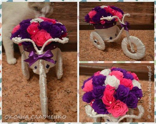 Очень понравилось делать такие кашпо-велосипеды,в любое свободное время делаю их) фото 3