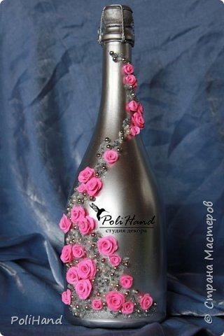 Подарочная бутылка - на свадьбу, день рождение, 8 марта, юбилей! Авторская ручная работа студии декора PoliHand фото 1