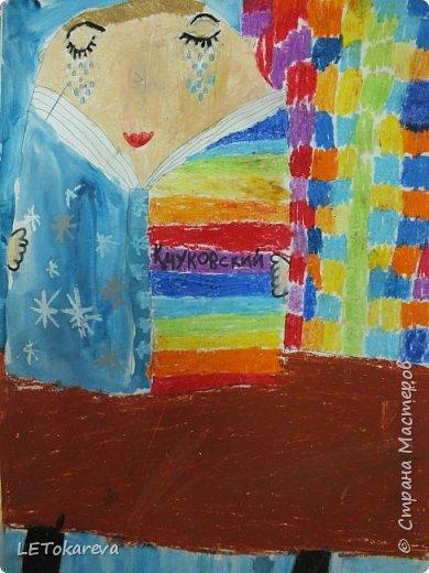 Здравствуйте! Мы с ребятами рисовали читателей. Впервые взяла эту тему. Мне и ребятам тема понравилась!  Изобразительные материалы дети выбирали сами. Предлагала масляную пастель, цветные карандаши, маркер, акварель, фломастеры. (А-3) (Ксюша Х. 7 лет). фото 3