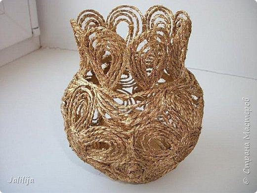 Уважаемые жители Страны мастеров! Хочу пополнить коллекцию ваз из джутовой верёвки, которых немало в недрах интернета. фото 3