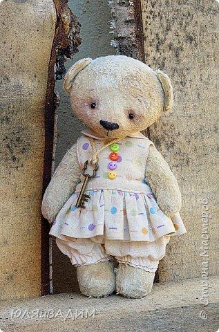 Тедди сшиты из вискозы производства Германия или винтажного плюша , очень плотно набиты опилками. В каждой игрушке по 5- 6 шплинтов. Одежда снимается. Рост с ушками заек 24-25см. фото 13