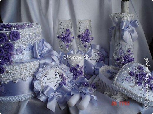 Свадебный комплект в нежной сиреневой гамме. фото 1