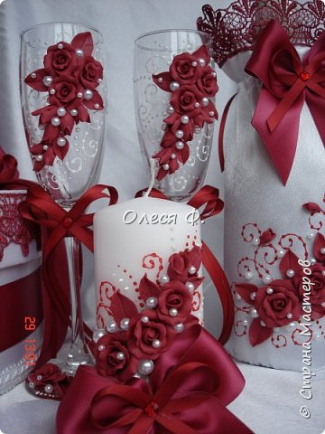 Свадебный комплект в модном ныне винном цвете МАРСАЛА. Выполнен на заказ.  фото 9