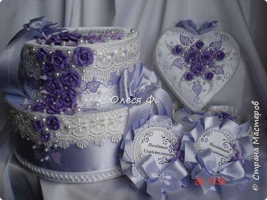 Свадебный комплект в нежной сиреневой гамме. фото 2