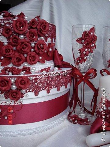 Свадебный комплект в модном ныне винном цвете МАРСАЛА. Выполнен на заказ.  фото 2
