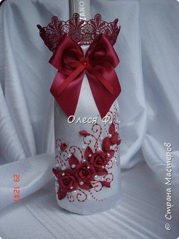 Свадебный комплект в модном ныне винном цвете МАРСАЛА. Выполнен на заказ.  фото 3