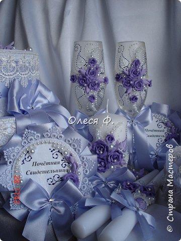 Свадебный комплект в нежной сиреневой гамме. фото 9