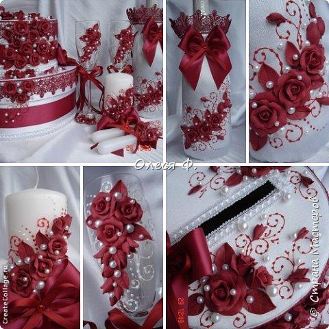 Свадебный комплект в модном ныне винном цвете МАРСАЛА. Выполнен на заказ.  фото 11