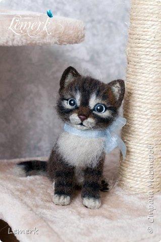 Воробушек. Валяный полосатый котенок. 17 см фото 1