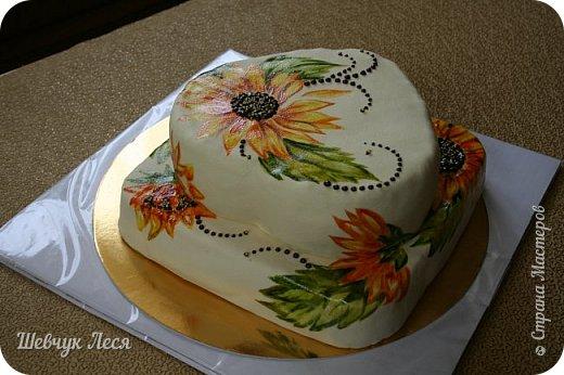 Приветик Всем!!!Хочу показать Вам какой тортик мы с дочкой придумали на день рождение нашему папе,мужу. Это новшество в оформлении тортов.Рисунок на мастике.Рисовала дочка пищевыми красками и плюс шоколад. Идея моя, а рисунок дочки! фото 7