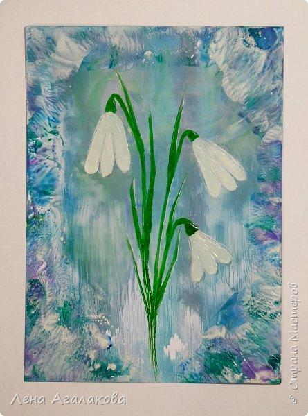 Скоро 8 Марта. Захотелось цветов... Нарисовалась парочка цветочных открыток фото 2