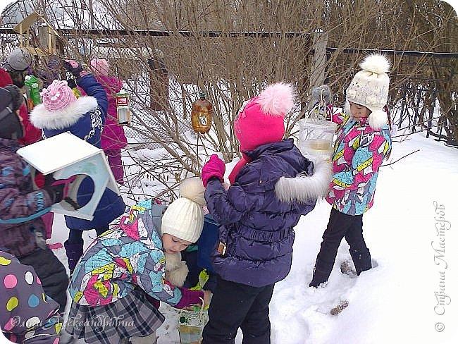 """Совсем недавно у нас прошел в классе проект """"Накормим птиц зимой"""" Дети вместе с родителями сделали самые разнообразные кормушки. Мы их повесили около школы. Теперь постоянно подкармливаем птичек. фото 14"""