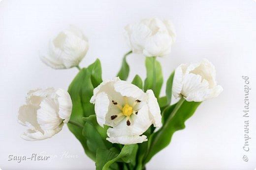 Здравствуйте, как всегда перед 8 марта популярными подарками становятся тюльпаны. В этом году сделала такие к 8 марта. Цветы из полимерной глины, высотой 32 см.  фото 4