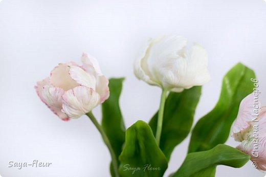 Здравствуйте, как всегда перед 8 марта популярными подарками становятся тюльпаны. В этом году сделала такие к 8 марта. Цветы из полимерной глины, высотой 32 см.  фото 6