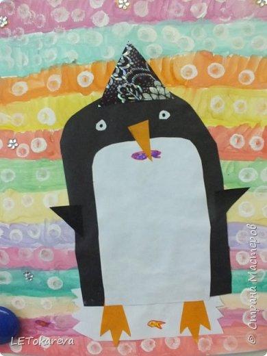 Здравствуйте,Людмила! Это наши пингвины. Мы соединили аппликацию с рисованием. Рисовали старшие дошкольники. фото 1