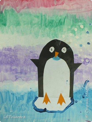 Здравствуйте,Людмила! Это наши пингвины. Мы соединили аппликацию с рисованием. Рисовали старшие дошкольники. фото 4