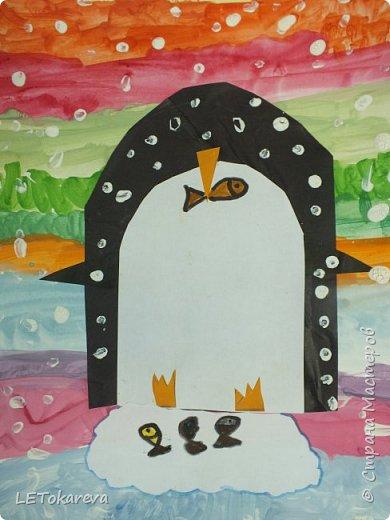 Здравствуйте,Людмила! Это наши пингвины. Мы соединили аппликацию с рисованием. Рисовали старшие дошкольники. фото 2