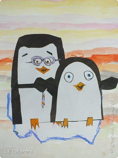 Здравствуйте,Людмила! Это наши пингвины. Мы соединили аппликацию с рисованием. Рисовали старшие дошкольники. фото 3