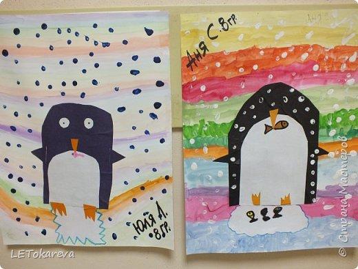 Здравствуйте,Людмила! Это наши пингвины. Мы соединили аппликацию с рисованием. Рисовали старшие дошкольники. фото 5