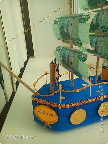 Корабль был сделан для хорошего человека на 80-летний юбилей))) Денежный подарок размещается в сундуке. Вдохновение черпалось на просторах сайта) фото 6