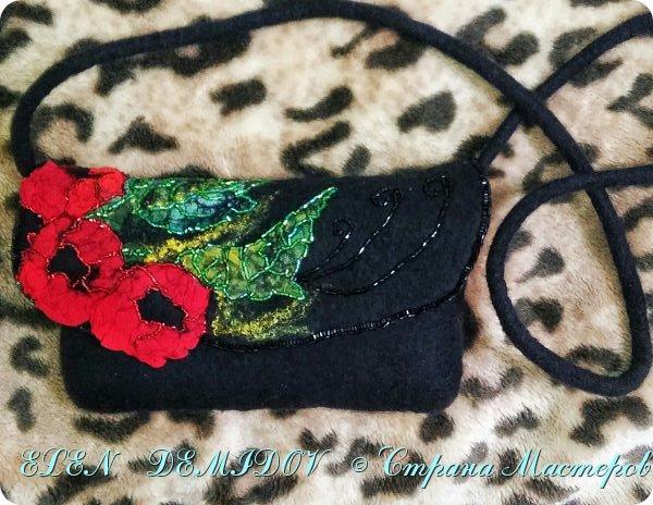 Небольшая сумочка изготовлена методом мокрого валяния с использованием натурального шелка. Размер 22 х 13, вес 120 гр. фото 1