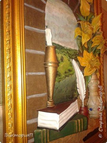 Привет всем! Вот наконец закончила картину, которую начинала еще в прошлом году! Размер 70Х45 без рамы. Давно хотела создать что-либо подобное но понимала, что для такой картины необходим специфический интерьер. И вот давний друг открыл ресторан в средневековом стиле и на официальном открытие я пообещала картину. фото 2