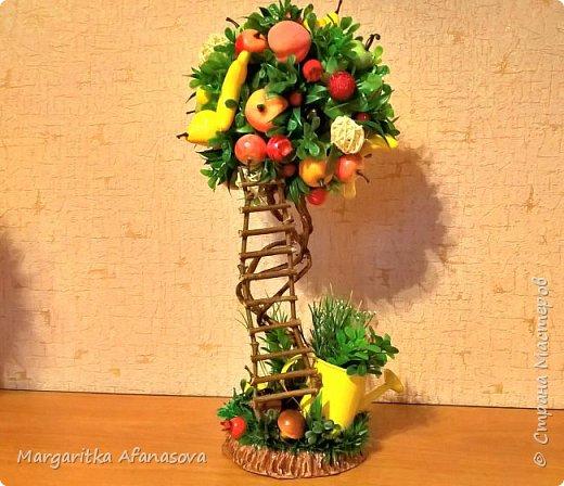 Решила попробовать  сделать деревце из фруктов. Вот что вышло! жаль что цвет все равно на фото не такой, фото сделаны при искусственном освещении фото 6