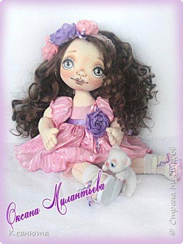 Вот такая девочка розовая-Розочка получилась.Котенок-валяние. фото 4