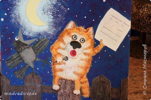 """Всем весеннего настроения! У нас на роботе конкурс объявили: """"Мартовский кот"""". Решила попробовать сделать барельеф на фанере. Для меня создавать форму оказалось проще, чем расписывать. Значить надо учиться рисовать=) Перевод распечатки делала по мастер классу Елены КЗ http://stranamasterov.ru/node/333155?c=favorite.  Спасибо ей огромное. В фотошопе развернула картинку и добавила искажение, чтобы сделать изгиб листика.Лепила ротбандом с добавление ПВА.  фото 1"""