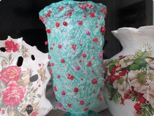 Хочу ещё раз показать, как пластична бумага и сколько поделок из неё можно сделать Это  поиск  варианта украшения вазы из папье- маше. фото 3