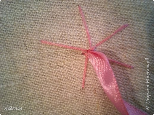Добрый день предлагаю сшить текстильную корзиночку!  Нам понадобятся: - льняная ткань;  - х/б кружево 2-х видов — узкое и широкое;  - х/б ткань любой расцветки;  - флизелин;  - синтепон;  - нитки в тон, булавки.   Для вышивки лентами понадобятся:  - ленты атласные розового оттенка 2 цветов шириной 12 мм;  - ленты атласные зеленого оттенка шириной 6 мм;  - мулине в тон лент;  - мулине зеленого цвета. фото 10