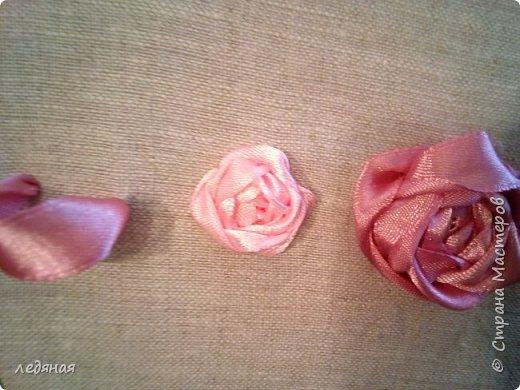 Добрый день предлагаю сшить текстильную корзиночку! Нам понадобятся: - льняная ткань; - х/б кружево 2-х видов — узкое и широкое; - х/б ткань любой расцветки; - флизелин; - синтепон; - нитки в тон, булавки. Для вышивки лентами понадобятся: - ленты атласные розового оттенка 2 цветов шириной 12 мм; - ленты атласные зеленого оттенка шириной 6 мм; - мулине в тон лент; - мулине зеленого цвета. фото 13