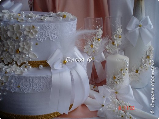 """Свадебный комплект в стиле """"Gatsby"""" . В бело-золотом исполнении, с перьями.  фото 1"""