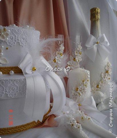 """Свадебный комплект в стиле """"Gatsby"""" . В бело-золотом исполнении, с перьями.  фото 10"""