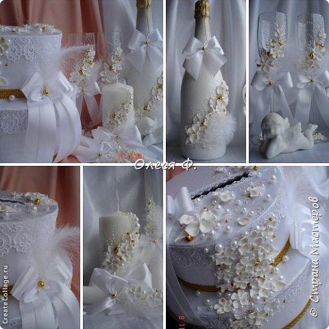 """Свадебный комплект в стиле """"Gatsby"""" . В бело-золотом исполнении, с перьями.  фото 14"""
