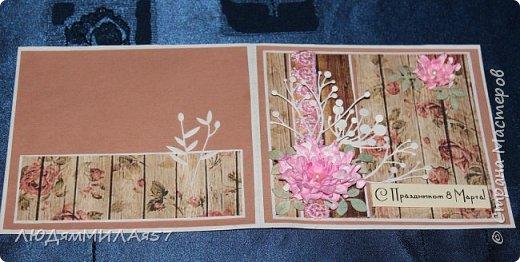 Здравствуйте всем!!! Решила сделать несколько открыток к 8 Марта,а поскольку легких путей мы не ищем усложнила себе задачу ,решив сделать открытки с одним и тем же цветком,но разного цвета,сделаны цветы по МК Светланы Б.,а за одно решила и расстаться с вырубкой,что мне прислали девочки по обмену АТСочками.Вот что у меня получилось! фото 15