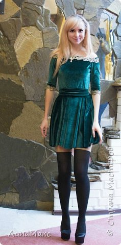 Первое платье хенд-мейд)велюр+кружево фото 2