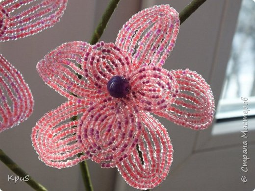 """Многомесячное """"производство"""" орхидей из бисера продолжается. Эта работа сделалась случайно. Старшая дочь решила тоже попробовать свои силы в бисероплетении. Но, как обычно, запал быстро прошел, оставив мне в наследство несколько лепестков. Что бы они не валялись без дела, я сделала еще цветов и собрала их в эту композицию. фото 2"""