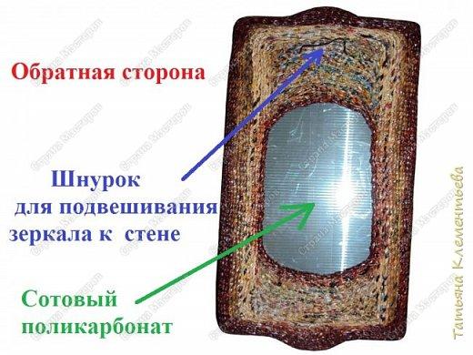 Это уже четвёртое зеркало, одетое в плетёную раму из газетных трубочек. Подрамник и основа для рамы изготовлены из сотового поликарбоната, который остался после установки теплицы. Как изготовить такую раму можно посмотреть здесь  http://stranamasterov.ru/node/987352  фото 2