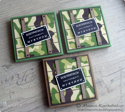 Сто лет не забегала - но по уважительной причине. Мы готовились к празднику - мужиков поздравлять))) Сначала было всё просто - хотели просто по шоколадке подарить... А потом пришла Маша с  потрясающей идеей от Антонины... (http://feya-din-din.blogspot.ru/2014/02/23_4.html ) И вот оно - понеслось... Голимый лифтинг - но не ставший от этого менее трудомким, хотя и упрощенно всё - до не могу)))) А что делать - бюджетный вариант... фото 3