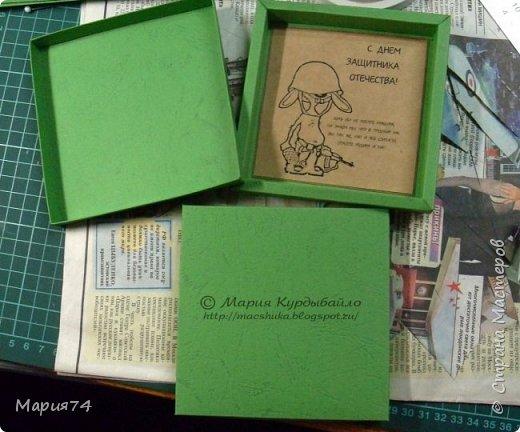 Сто лет не забегала - но по уважительной причине. Мы готовились к празднику - мужиков поздравлять))) Сначала было всё просто - хотели просто по шоколадке подарить... А потом пришла Маша с  потрясающей идеей от Антонины... (http://feya-din-din.blogspot.ru/2014/02/23_4.html ) И вот оно - понеслось... Голимый лифтинг - но не ставший от этого менее трудомким, хотя и упрощенно всё - до не могу)))) А что делать - бюджетный вариант... фото 14