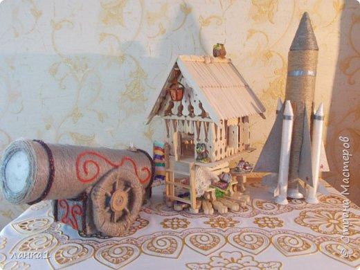 Сделала вот такие подарочки для моих мужчин.Домик  я показывала ранние, а теперь пушка и ракета. фото 1