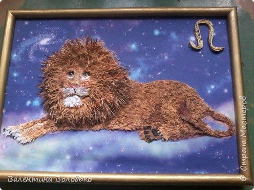 Здравствуйте дорогие мастера и мастерицы!!!Сегодня у меня лев.Сестра моего зятя попросила сделать панно со львом.Она по знаку зодиака -лев.Фон -распечатка зведного неба.На этом фото сделала более светлым,следуещее темный,а какой лучше не могу выбрать. фото 7