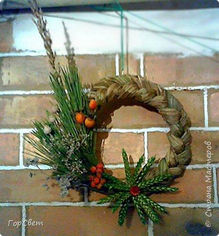 """Интерьерные """"рождественские"""" веночки из сухоцветов и травы. фото 2"""